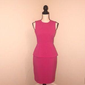Hot Pink 🎀 Peplum Dress. Calvin Klein. Size 0